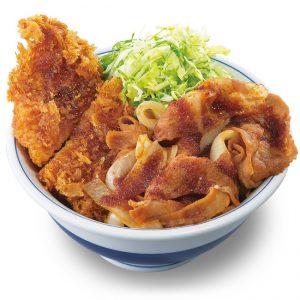 タレカツと焼肉合い盛り丼1